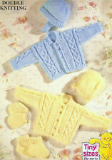 Premature Baby Knitting Pattern DK Cardigans Hats Bootees Mitts 12-14-16""