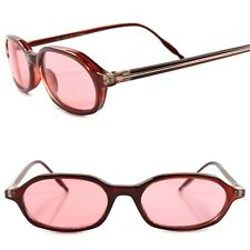 Deadstock 80s Hipster True Vintage Mens Womens Pink Lens Rectangle Sunglasses
