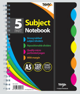 A5  TWIN WIRE 5-PART SUBJECT NOTEBOOK WITH TABBED SUBJECT DIVIDERS/FEINT RULED/