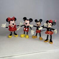 "Vintage Disney Mickey & Minnie Mouse Bendy Bendable PVC 5"" Figures Bundle x4"