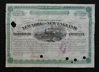 1889 NEW YORK & NEW ENGLAND RAILROAD COMPANY STOCK CERTIFICATE 100 SHARES RARE