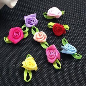 100Pcs Small Mini Satin Ribbon Flowers DIY Rose Wedding Decor Sewing Appliques
