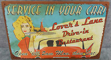 "Vintage Look Tin Metal ""Lovers Lane Drive In"" 10""X16"" Old Style Sign"