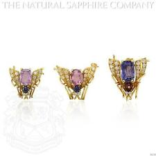 18K Yellow Gold Sapphire, Ruby and Diamond Fly Pins (J4238)