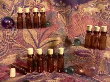 LOT (24) small glass AMBER Vials bottles REAL OAK CORK pendant potion Steampunk