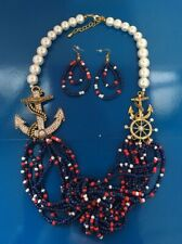 Pearl Anchor Boat Wheel BLUE Nautical GOLD tone chain Necklace Earrings J11-12/2