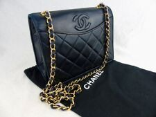 Authentic CHANEL classic flap Bag Black/Navy Lambskin diamond matelasse with COA