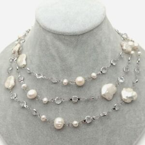 """Cultured White Keshi Pearl White Gold Plated Cz Pave Chain Long Necklace 42"""""""
