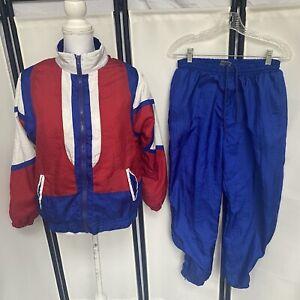 Bold Spirit Vtg 90s Womens Petite Medium patriotic Track Suit red white blue e2