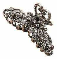 Silver Vintage Crystal Metal Hair Clamp Ladies Women girls hair claw clip UK