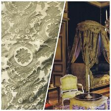Designer Damask Drapery Satin Fabric - Olive Green- Decorating