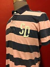 SUPERDRY JAPAN STRIPED RUGBY POLO SHIRT SZ LARGE L PINK/BLUE DOUBLE BLACK LABEL