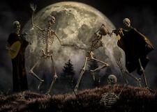 Horror Scene Halloween Skeletons Dance Backdrop 7x5ft Vinyl Photo Background LB