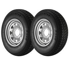 2 Pack - ST225/75D15 Loadstar Trailer Tire LRD on 6 Bolt Silver Spoke Wheel