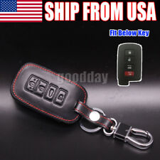 4 Button Black PU Leather Fob Case Cover Holder For Toyota Camry RAV4 Remote Key
