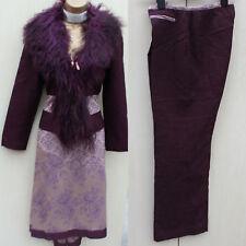 Karen Millen Vintage Lilac Jacquard Skirt Trousers Suit & Fur Jacket 10-12 UK 38