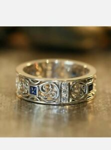 Fashion Ladies Mens Band Ring blue simulated sapphire 925 Sterling Silver Size S