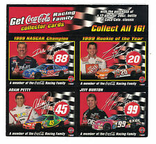2000 Coca-Cola NASCAR 4 card Panel Dale Jarrett Tony Stewart Adam Petty J Burton