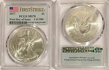 2017 $1 PCGS MS70 SILVER AMERICAN EAGLE FLAG FIRST DAY OF ISSUE 1 OF 1000