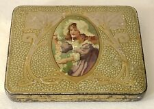 Antique Queen Bess Girl Flowers Enamel Hair Pins Advertising Tin Litho Box Case