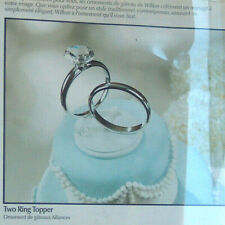 "NEW Wilton Two Ring Wedding Get Married Cake Topper Shiny Silver 6.5"" Tall NIB"