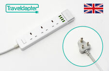 World Wide Travel Adapter BURMA Extension Lead Multi 3 UK Plug 4 USB to 3 Pin...