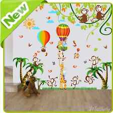 Animal Monkey Giraffe Height Chart Wall Stickers Jungle Nursery Baby Room Decal