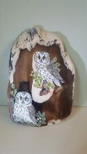 Pétrifié Cypress bois McDermott Oregon Peint Hiboux Plaque