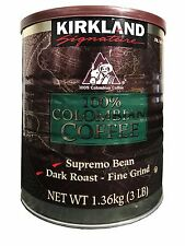 Kirkland Signature 100% Colombian Coffee Supremo Bean Dark Roast Fine Grind 3LB