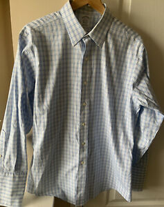 Brooks Brothers Men Classic Long Sleeve Button Down Shirt Blue Plaid Size 16-33
