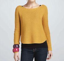 $338 BNWT Eileen Fisher Alpaca Silk Horizontal Rib OCHRE Shaped Sweater L