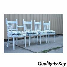 4 Vintage Hollywood Regency White Painted French Style Spindle Back Dining Chair