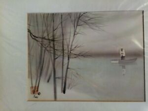 """Asian Artist Poon Tai To Watercolor on Silk Man fishing 11"""" x 14"""" Signed"""