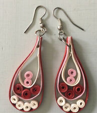 Pairs of  earrings, handmade quilling paper, glue, sterling silver hooks