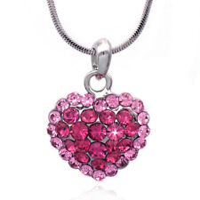 Two -Tone Pink Heart Pendant Necklace Valentine's Day Birthday GIFT BOX