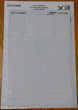 Microscale Decal #AC72-0028 White-Navy &  Marines Assorted size lettering 1/72nd
