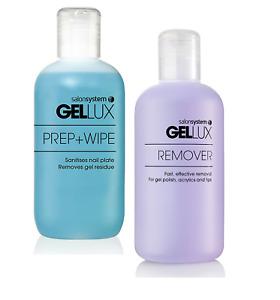 Gellux Gel Nail Polish Prep and Wipe & Gel Polish Remover Duo Pack 250ml