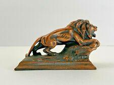 Vintage Lion Lions Club International Anniversary Program Bronze Lion Figurine