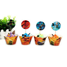 24Pcs Ninjago Theme 12x Wrappers + 12x Toppers Children Party Cupcake Decoration