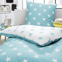 Bettwäsche Sterne Stars türkis weiß Himmel modern Perkal Baumwolle Trend