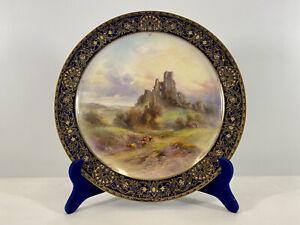 "Original Royal Worcester Gold Gilt Plate By John Stinton ""Corfe Castle"""