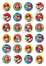 24 x Super Mario Marios Birthday Cupcake Fairy Cake Toppers Edible Rice Paper