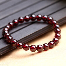 6mm Genuine Natural Brazil Red Garnet Round Gemstone Beads Stretchy Bracelet