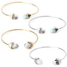Vintage Bangle Boho Turquoise Open Cuff Wristband Jewelry Bullet Stone Bracelet