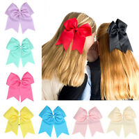 8 Inch Cheer Bow  Solid Color Girls Cheerleading with Elastic Band