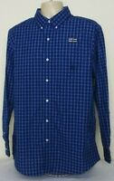 Chaps Long Sleeve Button Down Shirt Blue Black Check Mens Large NWT