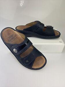 FINN COMFORT Black Two Strap Leather Sandals Size EU 39 US 9