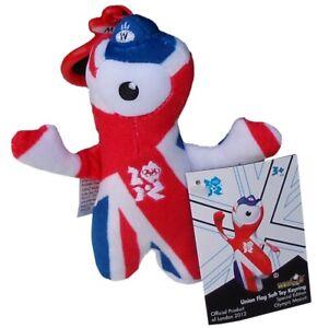 OLYMPICS London 2012 Wenlock 12 cm Union Jack Plush Toy Key Ring Memorabilia