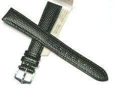 HIRSCH 16MM BLACK GENUINE LEATHER LIZARD GRAIN WATCH BAND RRP £15.95