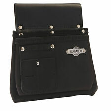 Buckaroo FORMWORK CARPENTER BAG Black Nailbag Leather 2 Large Pocket  22x30cm